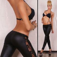 亞馬遜wish爆款leggings側面蕾絲仿皮打底褲彈力緊身小腳褲 L0412