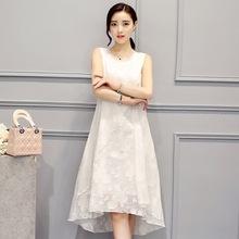 2016新款夏季韓版女裝刺繡背心裙 時尚寬松中長款真絲連衣裙