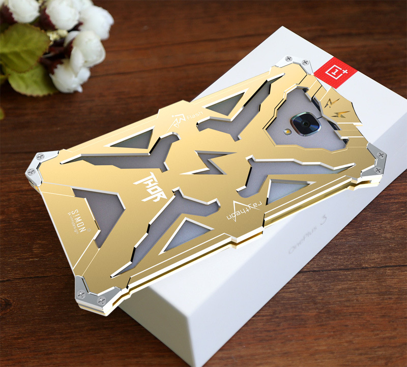 SIMON THOR Aviation Aluminum Alloy Shockproof Armor Metal Case Cover for OnePlus 3