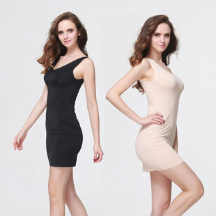 Long seamless nightdress women sexy thin one-piece women's petticoat can be worn on both sides of women's slim nightdress