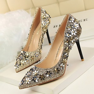 336-1 han edition elegant shoes high heel with shallow pointed mouth sweet little flower sequins single shoes High heels