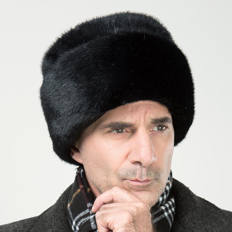 新款男士仿水貂皮草雷锋帽中老年帽子男冬季保暖户外老人帽潮