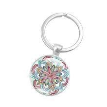 Ebay速賣通熱銷 曼陀羅花時光寶石鑰匙扣玻璃吊墜鑰匙鏈批發定制