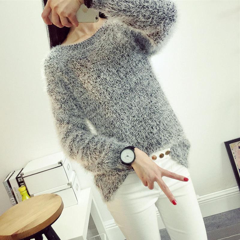 外贸原单速卖通爆款韩国东大门宽松纯色针织打底衫毛衣女外套