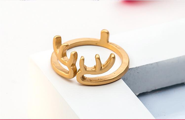 Ring Christmas Reindeer Elk Antlers Ring Opening Adjustable Deer Ring  NHCU180241