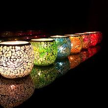 12色时尚欧式玻璃马赛克蜡烛台婚庆婚礼道具新年礼物摆件酒吧装饰