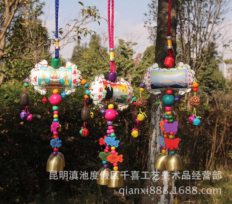 丽江工艺品民族特色工艺品手工东巴风铃挂件 彩绘横皮双铃风铃
