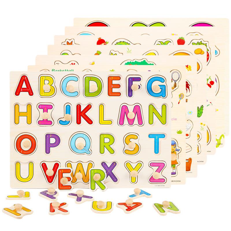 木质手抓板拼图早教启蒙幼儿园教具字母数字蘑菇订拼板地摊货批发