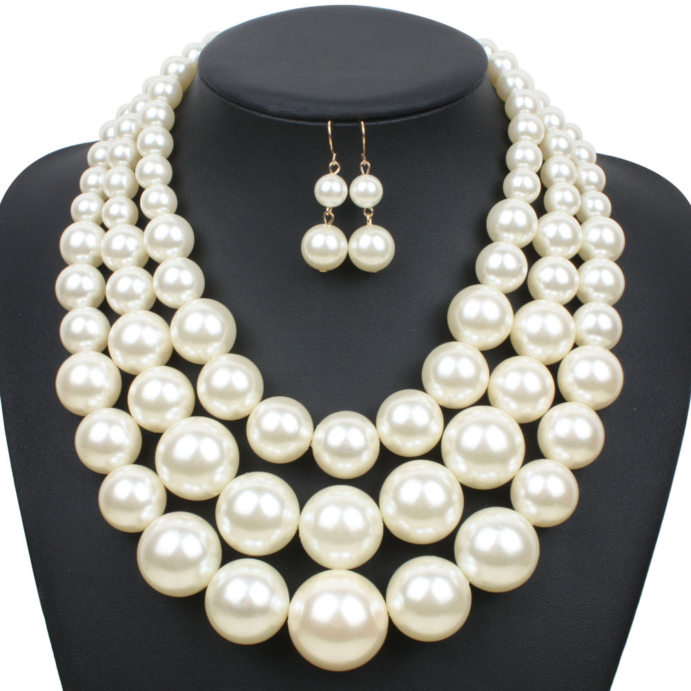 Occident and the United States pearlnecklace (creamy-white)NHCT0032-creamy-white