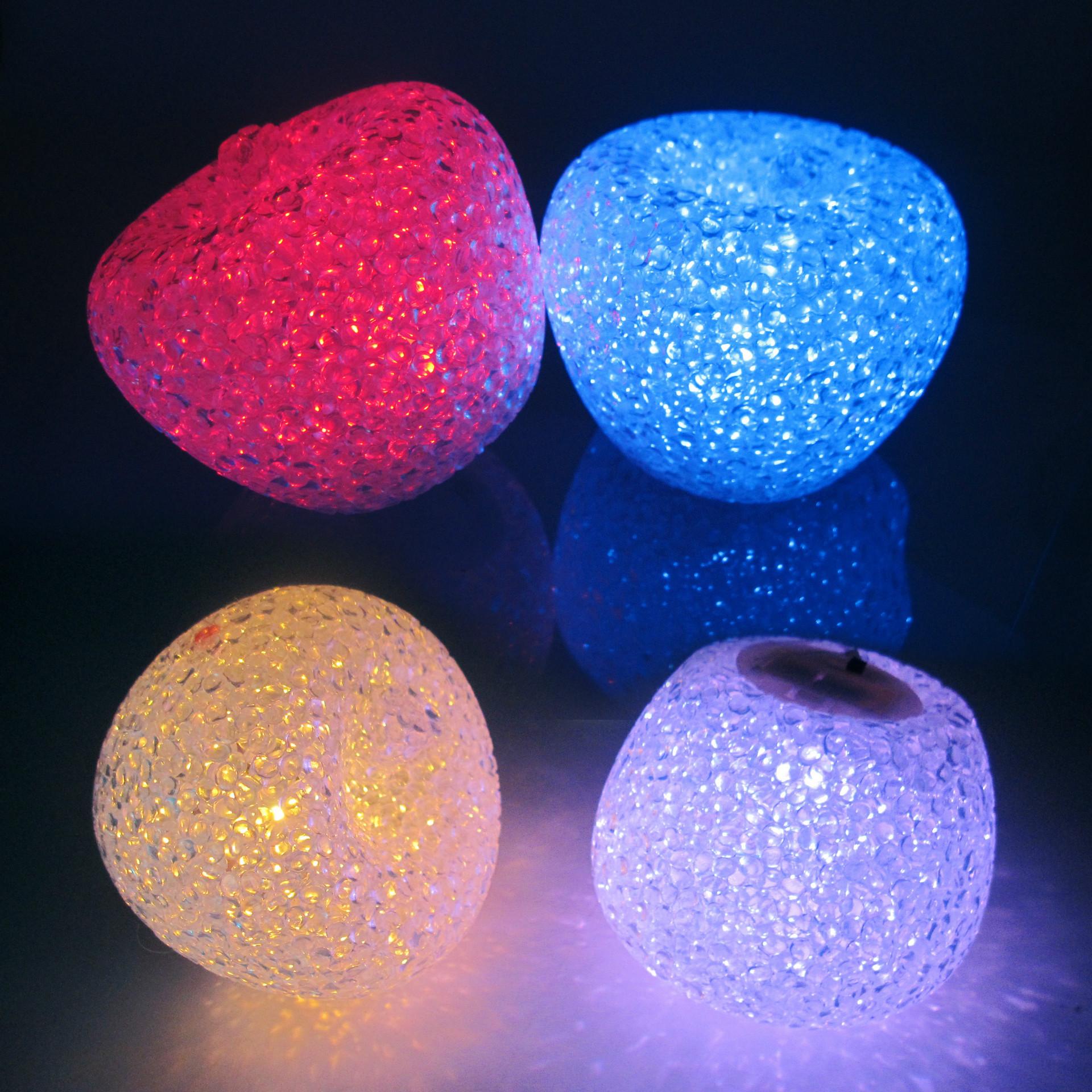 圣诞节发光大号水晶苹果创意七彩小夜灯装饰品平安夜礼物生日礼品