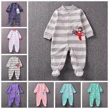 一件代发摇粒绒包脚爬服长袖连体衣婴儿外出服宝宝哈衣新生儿睡衣