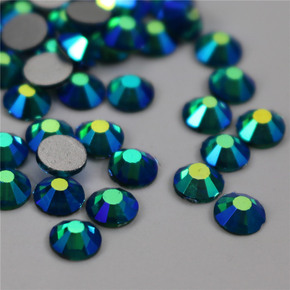 Silver bottom hole blue blue color AB color glass coating DTY nail accessories flat bottom water drill