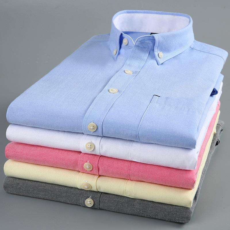 新款男士短袖牛津纺衬衫男韩版修身纯色免烫半袖时尚男装衬衣代发