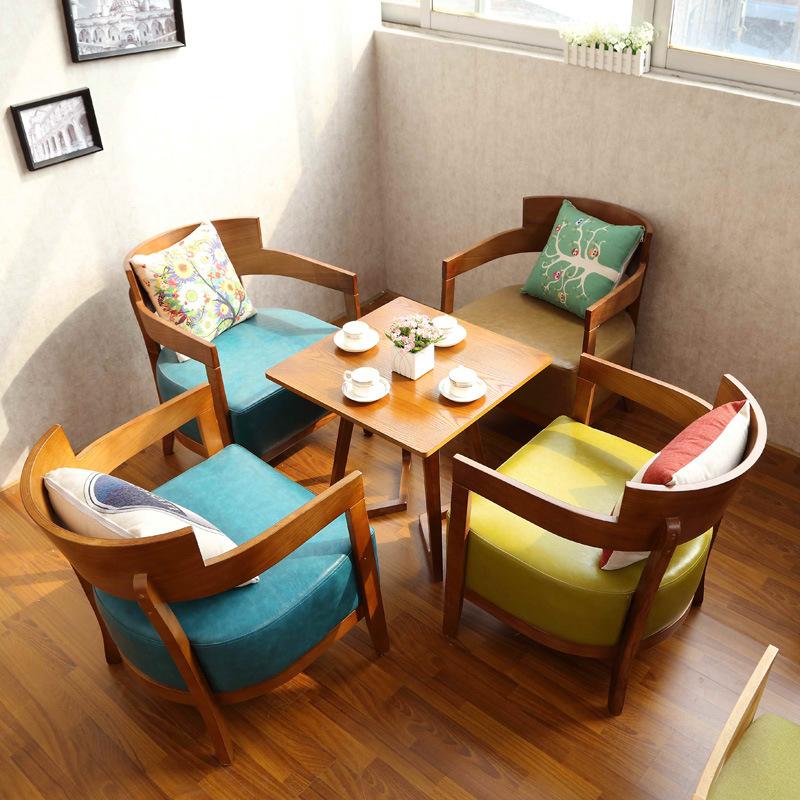 美式复古实木咖啡厅北欧休闲扶手洽淡桌椅组合 茶餐厅会客沙发椅