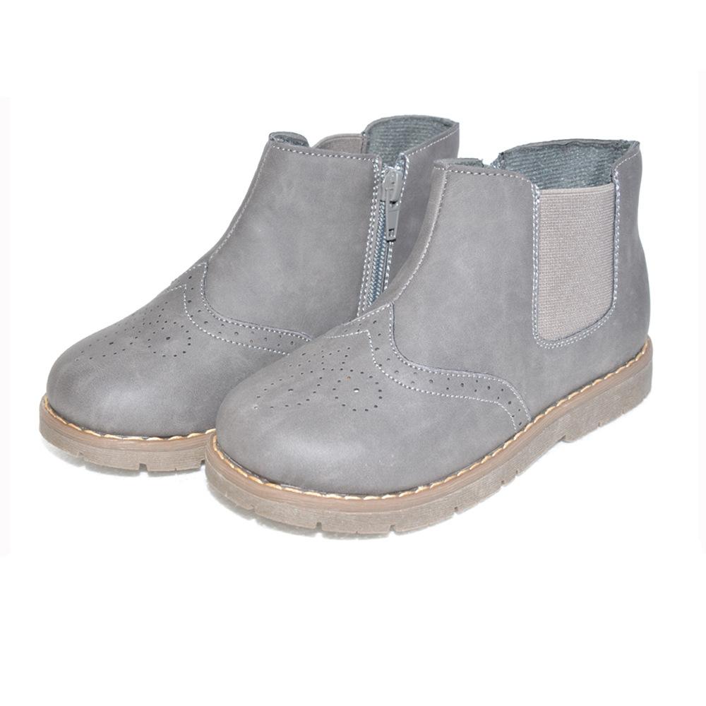 新款秋冬高帮童鞋 耐磨防滑休闲防踢单靴童靴 跨境男女童靴