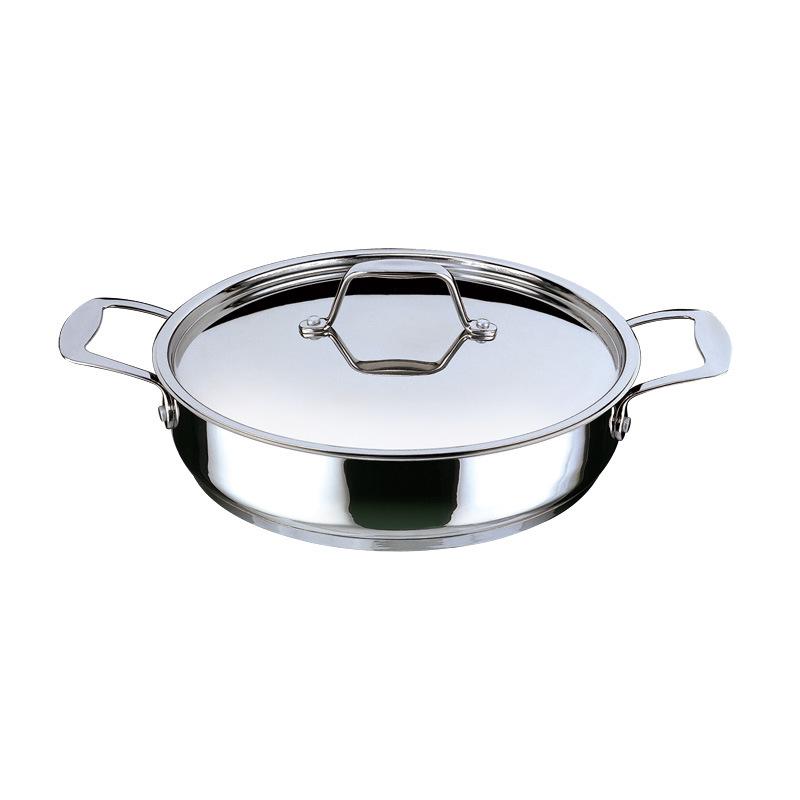 顺发正品厨霸双柄28cm平底煎锅无涂层复底304不锈钢通用