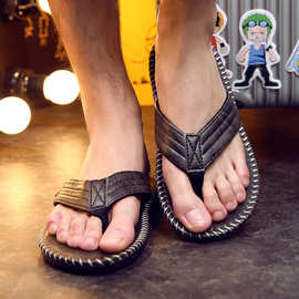 歐美潮流男士人字拖夏季拼色英伦风涼拖鞋夾腳防滑厚底平跟沙灘鞋