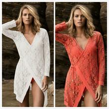 批发新款海边度假比基尼罩衫蕾丝镂空沙滩外套深V性感防晒沙滩衣