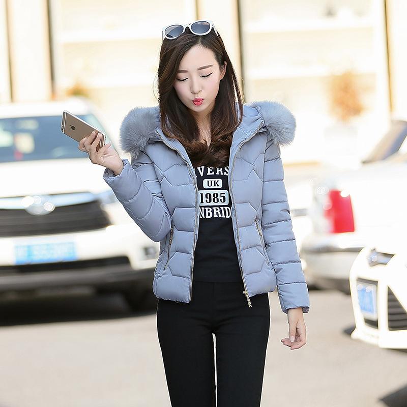 冬季新款棉衣女短款修身棉服大毛领保暖棉袄韩版女士加厚羽绒棉衣