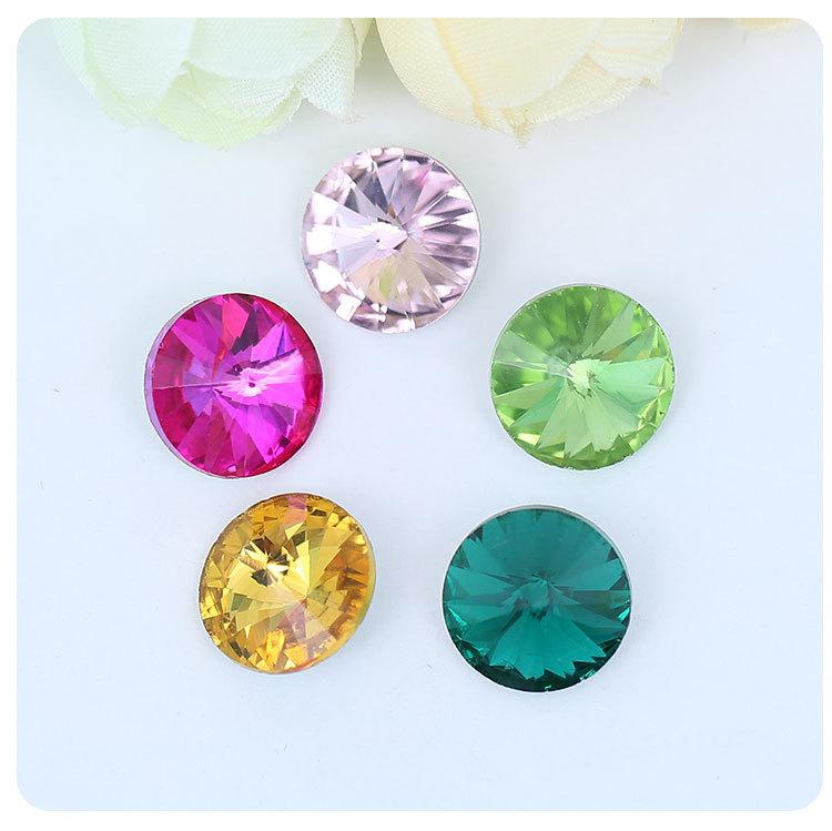 尖底卫星钻6-30MM水晶钻 彩色贴钻 DIY饰品配件 颜色型?#29260;?#20840;