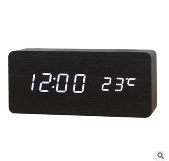 創意家居床頭鬧鐘 木質鐘表 夜光電子鐘 新款聲控led木頭鐘批發