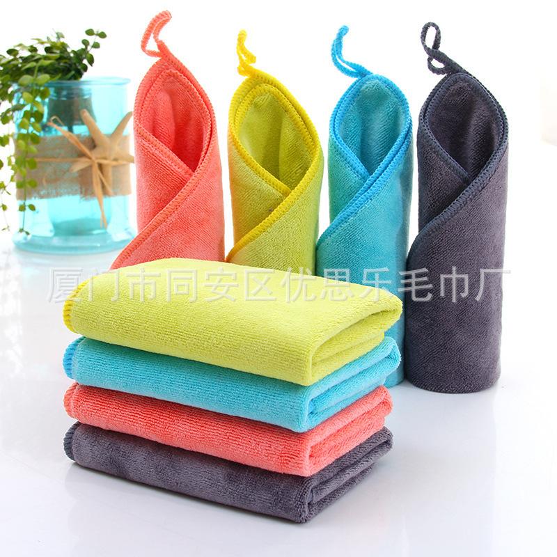 30*30超细纤维毛巾 颜色定制 幼儿园儿童小方巾 厂家直供