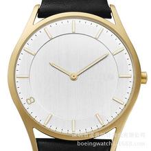 北欧风范新款正品钢壳复古时尚潮流简约真皮防水夜光石英中性手表