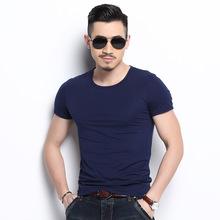 純色男式短袖t恤棉修身彈力健身運動t恤夏季新款男士圓領打底衫
