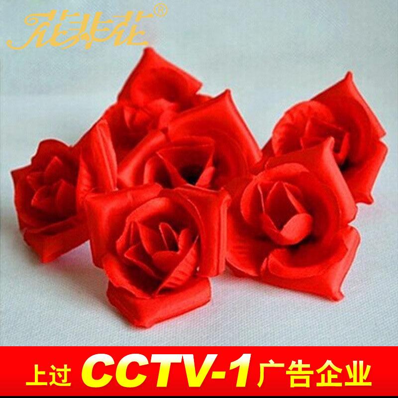 支持小额混批批发玫瑰花 花头 仿真花朵 布艺假花 蜡烛摆图玫瑰花