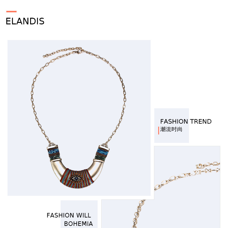 Alloy Bohemia Geometric necklace  (Coffee color) NHTF0103-Coffee-color
