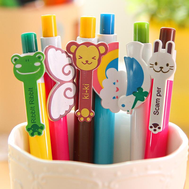 Hàn Quốc cánh cầu vồng văn phòng phẩm động vật ấn bi bút hoạt hình dễ thương bút bi nhiều màu cá tính bán buôn