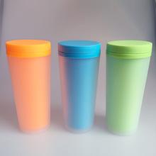 400ml磨砂双层塑料杯保温杯双层杯创意水杯广告杯定制logo