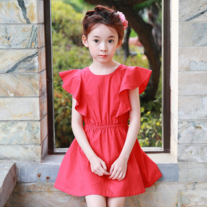 2017 summer new children's wear, Korean version, princess skirt, girl dress, big child, lotus skirt, A398