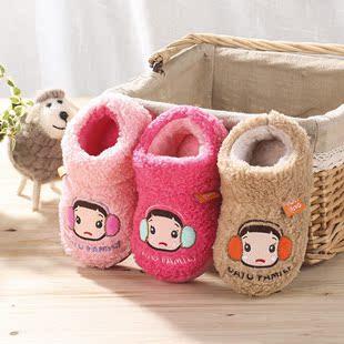新款大头儿子中小童棉鞋澳洋绒保暖儿童家居拖鞋包跟亲子棉拖批发