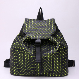 New product first women's bag silicone backpack student bag fashion trend rhombic geometric stitching backpack