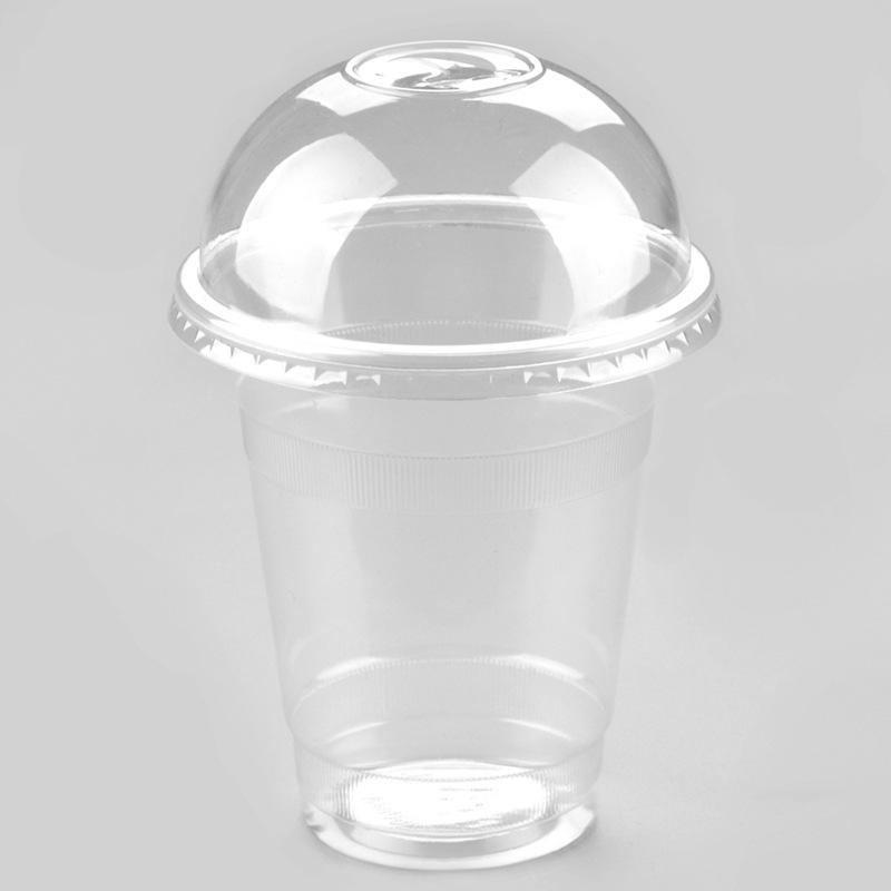 速递一次性杯子 PP吸塑杯 珍珠奶茶杯果汁杯透明塑料杯带盖