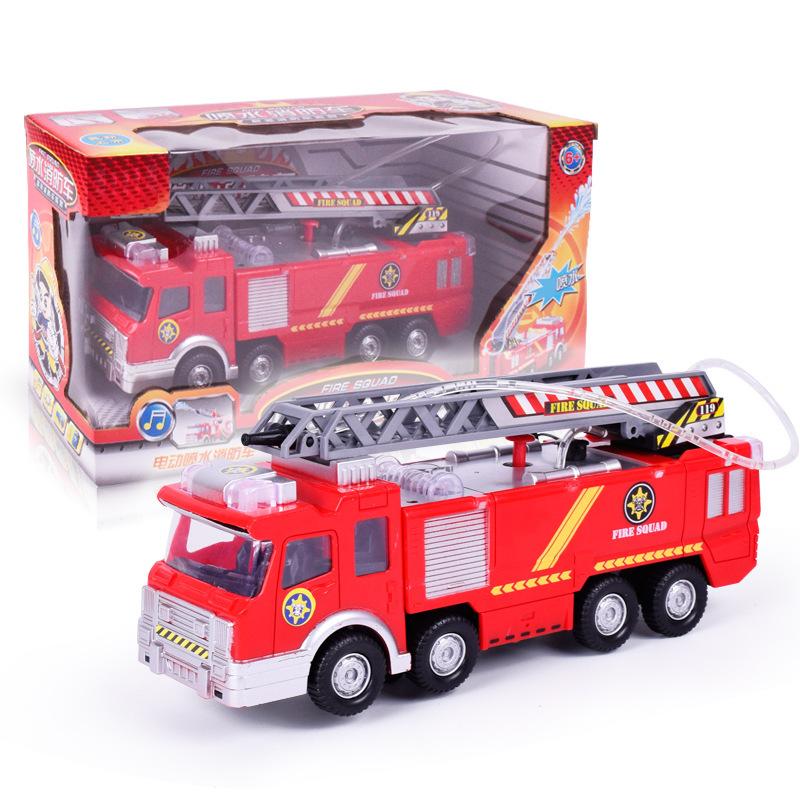 跨境儿童玩具电动消防车 可喷水电动万向仿真声音灯光救火喷水车