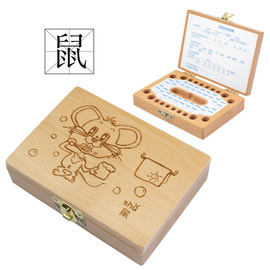 Safety and environmental protection creative wood products collection box Baby deciduous baby hair storage box personalized commemorative gift