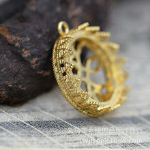 DIY飾品配件寶石底座蕾絲托手鏈項鏈配件圓形蕾絲邊皇冠底托A632