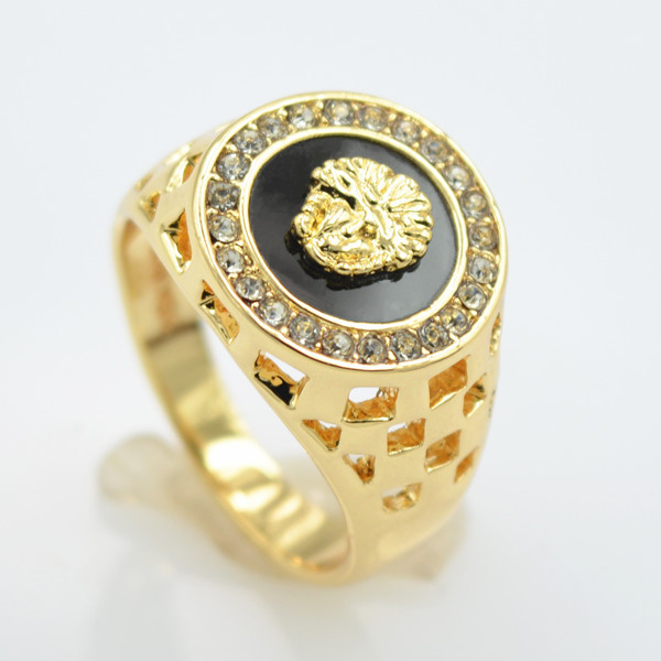 18 K Gold Set Auger Lion Head Of Kings Ring Couple Ring Jewelry Ring
