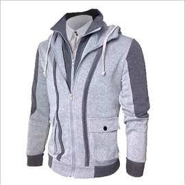 秋季新款 ebay 速卖通爆款男式連帽衛衣双拉鏈拼接開衫假兩件外套