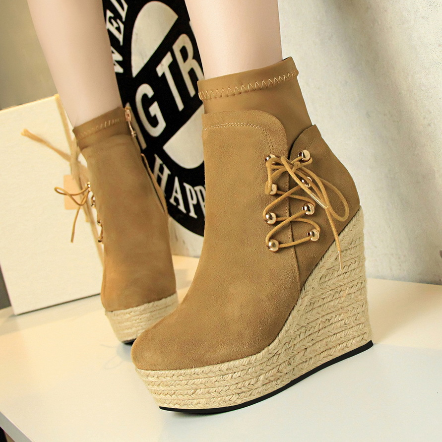 1701 the European and American wind restoring ancient ways high thick hemp rope woven wedge bottom with suede round head