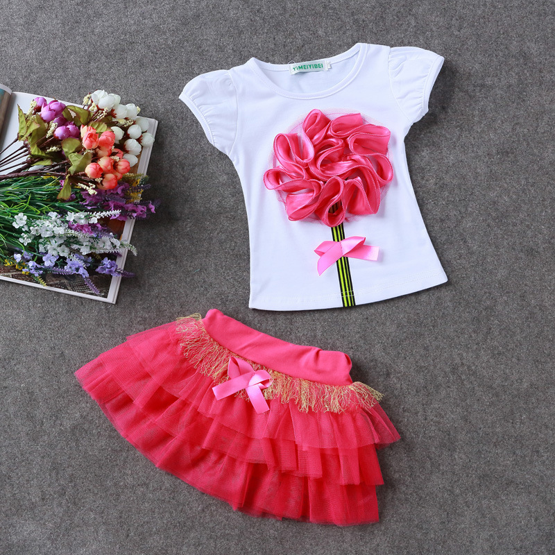 259ed9a7816ffc 2017 New Girls Fashion Clothing Set 2 6Yrs Girl Princess Skirts Suit  Flowers t shirt Tops +tutu Skirt Kids Summer Formal Dress-in Clothing Sets  from Mother ...