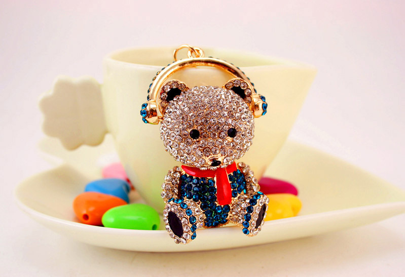 Creative cute diamond-studded bear car keychain  NHAK267058
