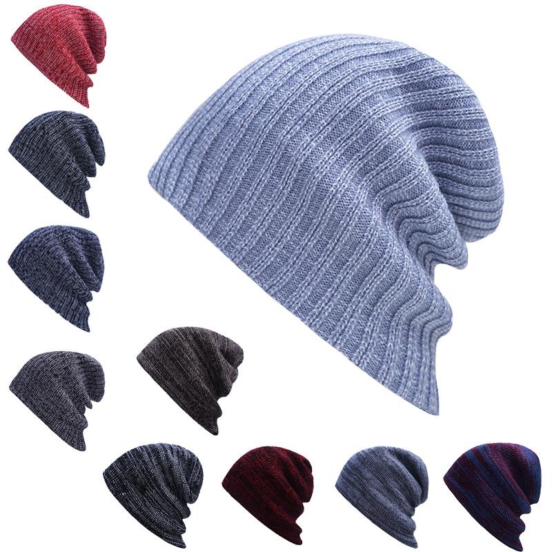 爆款帽子 秋冬条纹套头帽 男女士秋冬保暖毛线帽 欧美户外针织帽