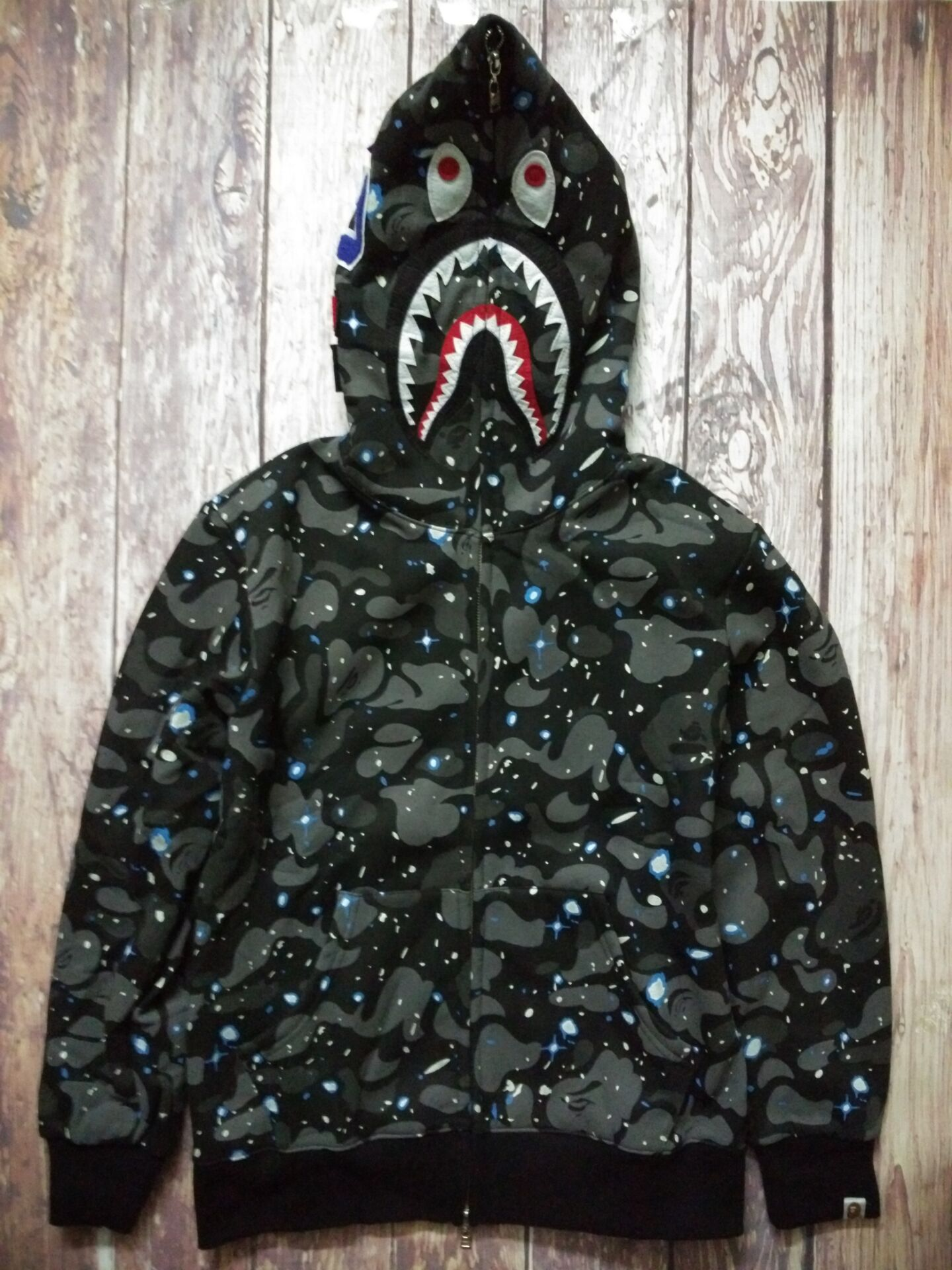 BAPE Night sky Ape Shark Jaw Full Zipper Hoodie Sweater Camouflage ... 2d4564747