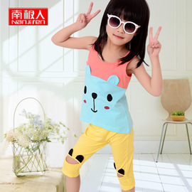 Activity children's suit cotton summer T-shirt sling shorts two-piece girls clothes seven points pants