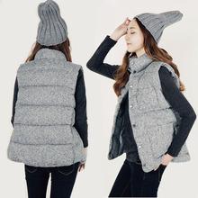 2017秋冬季韩国加绒加厚丝光棉马甲女式无袖外套时尚立领坎肩背心