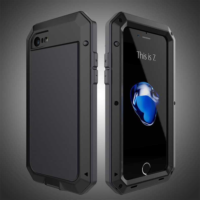 R-Just Extreme Premium Protection System Aluminum Heavy Duty Metal Case with Corning Gorilla Glass for Apple iPhone 7 Plus & iPhone 7