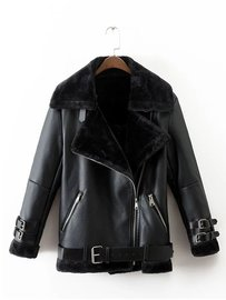 Autumn and winter new European and American women's wear lapel long-sleeved black fur one locomotive leather jacket 3332